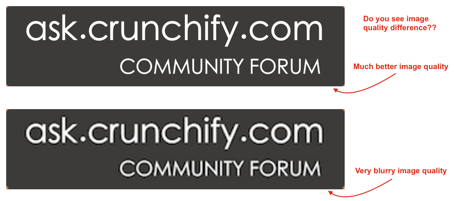 Checkout 2x Image Quality Difference Crunchify Tips