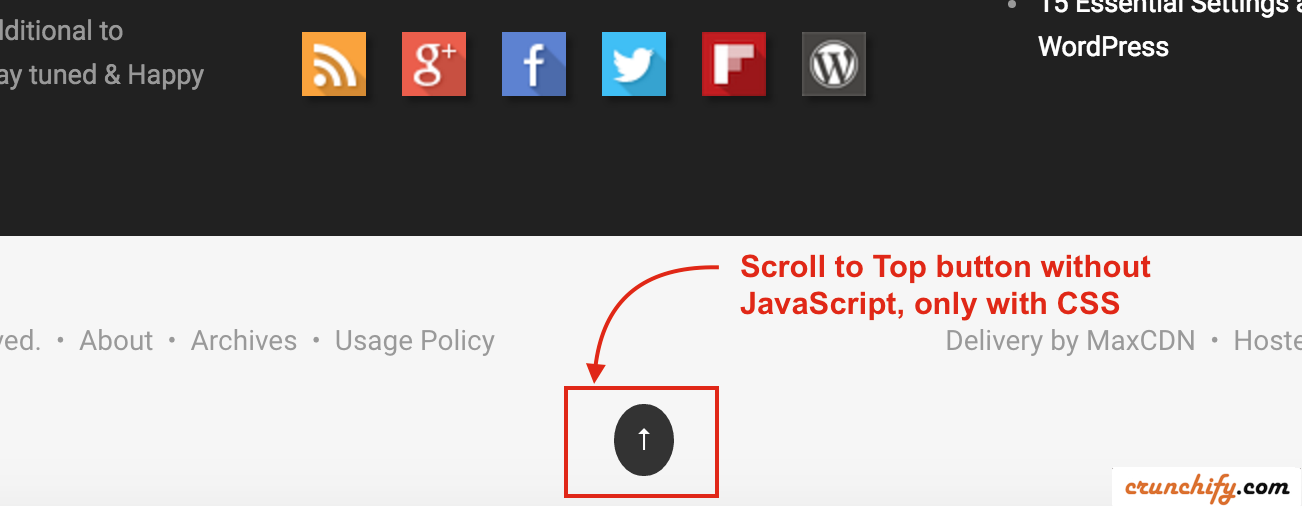 Simple Scroll To Top Button Without Java Script Crunchify