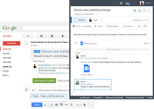 Incorporate Wrike into GMail