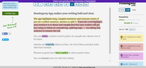 A screenshot of the Hemingway tool at work. (Common Writing Mistakes)