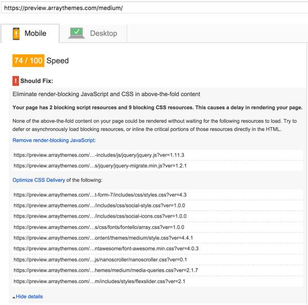 PageSpeed Optimization Array Themes Mobile Part A