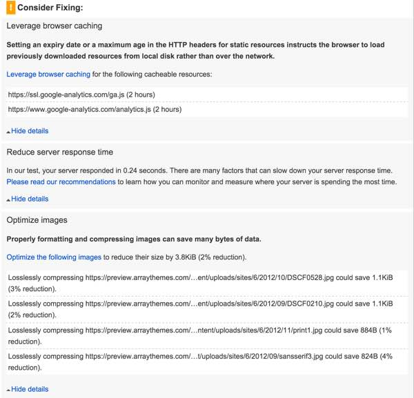 PageSpeed Optimization Array Themes Mobile Part B