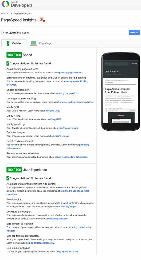 Mobile PageSpeed score 100